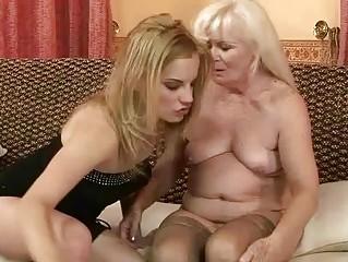 unsightly granny enjoying lesbian sex with hot