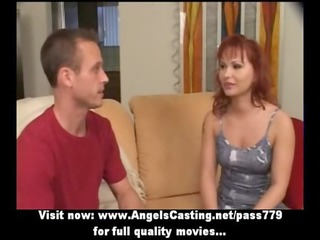 redhead milf as bride does blowjob for big guy in