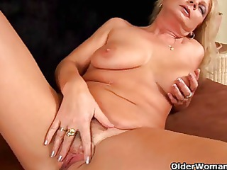 breasty grandma squirts her muff juice as she is