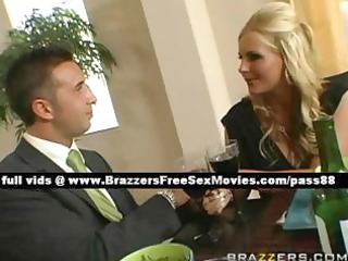 stunning blond wife at the table with her spouse