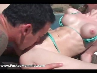 busty redhead mommy fuck a massive cock outdoors