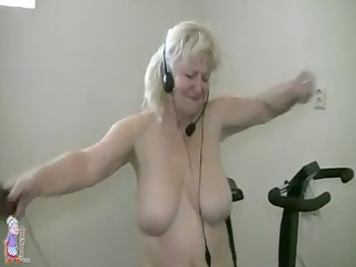 overweight granny working out