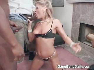 hawt blond chick sucks large cock and acquires