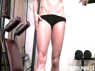 mandy k shows her chiseled body of a mmf