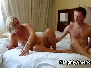 sexy older blond milf hawt suz copulates her sons