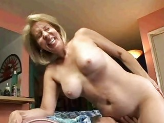blonde granny sucks on pecker then gets her old
