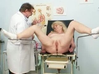 golden-haired grandma perverted cum-hole exam