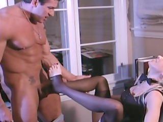 breasty golden-haired secretary fucking in nylons