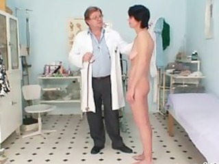 slim milf weird muff fingering by gyno doctor