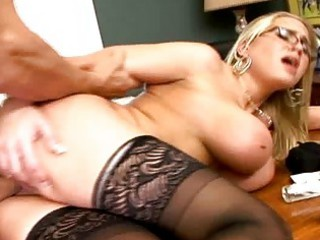 busty golden-haired d like to fuck in glasses get