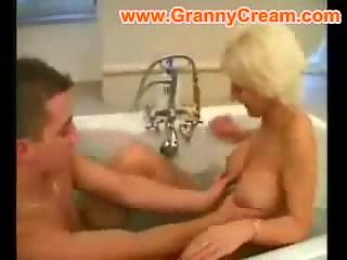 blonde older mama drilled in the bathroom