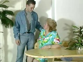 old obese golden-haired granny gets toyed and