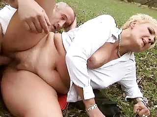 granny gets drilled pretty hard outdoor