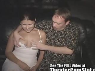wife sucks fucks strangers in a seedy porn theater