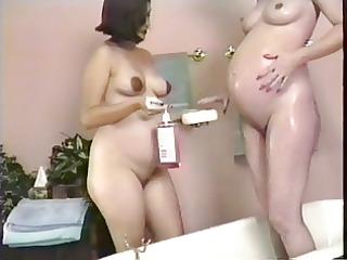 sexy dark brown pregnant lesbian babes take a