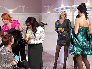 charming milfs in hot dresses having group sex at