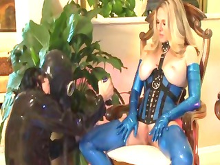 breasty older golden-haired shows her love of