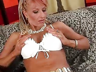 aged regina receives a load on her chest