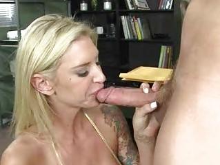 blond milf hottie with huge tits sucking weenie