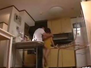 slim mother i sex with plump fellow in kitchen