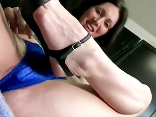 aged breasty brunette rubs that is wet cum-hole