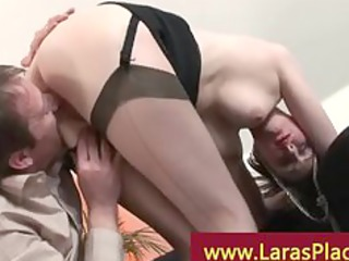 mature lady rides fortunate lad in heels and