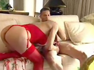 exquisite mama in red gives tip
