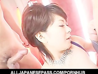pounder pleased japanese chick eating cum