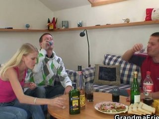 partying guys tempt horny blonde granny and nail