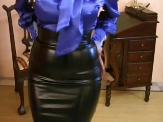 milf wearing constricted satin petticoat