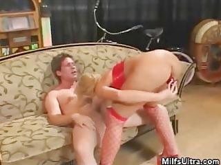 blonde milf in underware plays with her guy