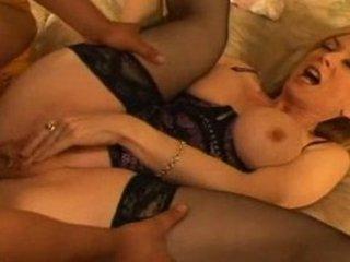 aged nina hartley receives an interracial anal