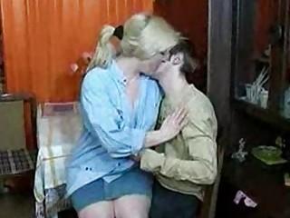 russian mom and boy having a gulp