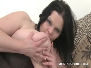 brunette hair chesty mature rubbing clit