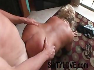 overweight older blond wife acquires on her hands