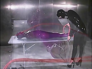 purple latex pliant whipped on table