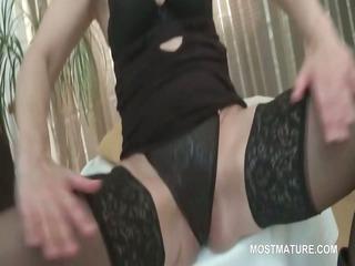 mature stunner in underware shows sexy twat and