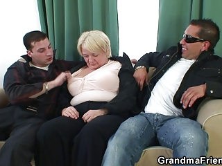 hot threesome with naughty granny