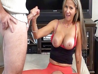 whorish blonde mother i in red nylons does blowjob