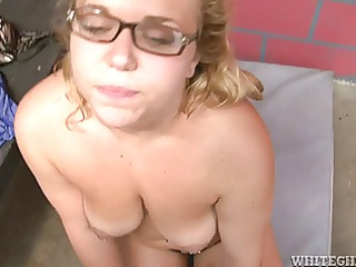 cute blond with glasses bites and jacks off small