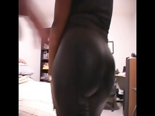 swarthy mom clothed in latex receives naked to