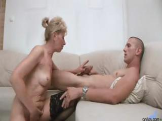 hot golden-haired granny acquires a younger males