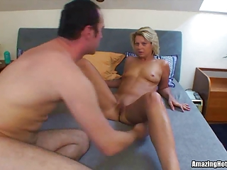 golden-haired milf sucked and gangbanged