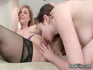 horny older golden-haired lesbo goes crazy