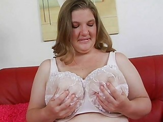 aroused overweight blond momma with huge boobs