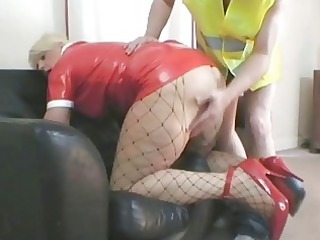 sexy blonde d like to fuck in latex outfit nailed