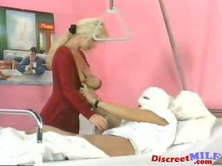 milf receives golden shower at the hospital