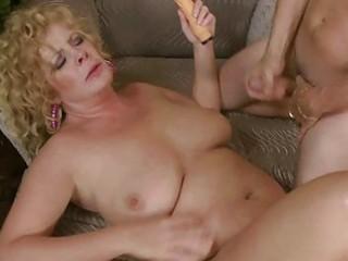 busty older lady slurps on biggest chunky prick