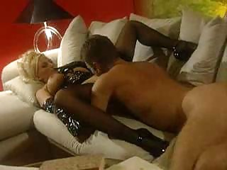 golden-haired milfs in latex getting drilled