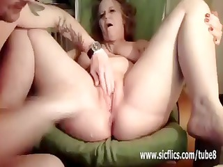 older housewife has her legs spread for a brutal